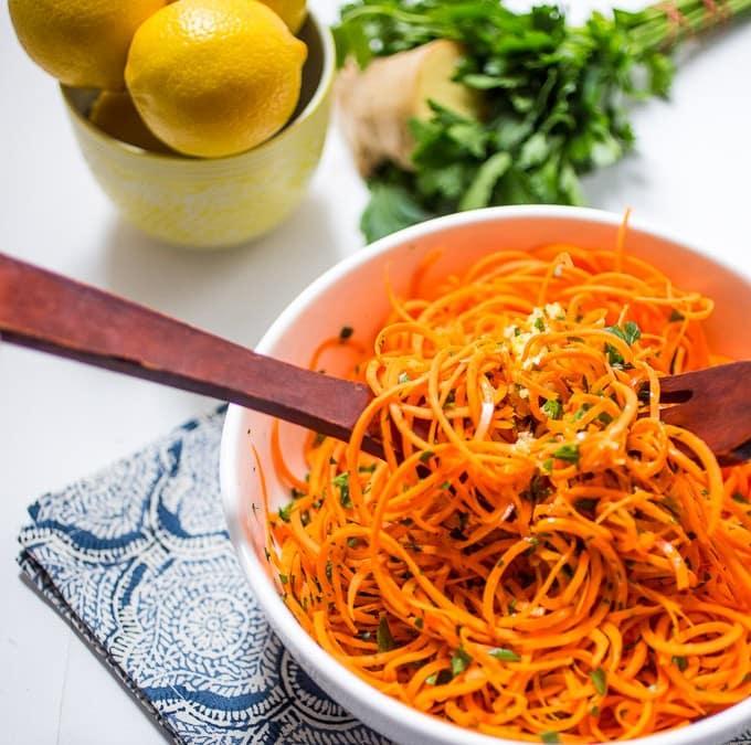 Spiralized Carrot Salad with Lemon Ginger Dressing