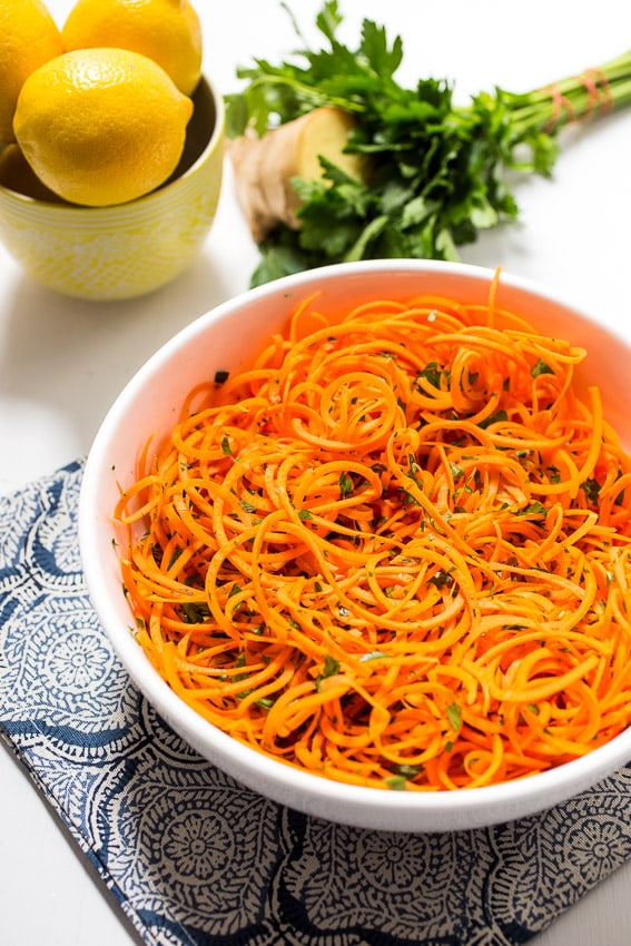 Carrot Salad with Lemon Ginger Dressing | girlinthelittleredkitchen.com