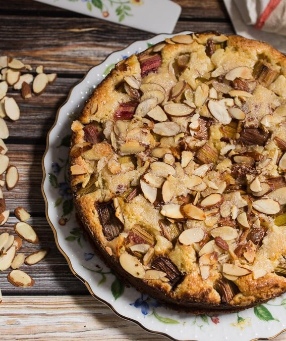 Rhubarb Ricotta Almond Cake