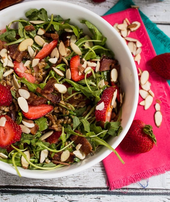 Bacon Strawberry and Farro Salad #SundaySupper