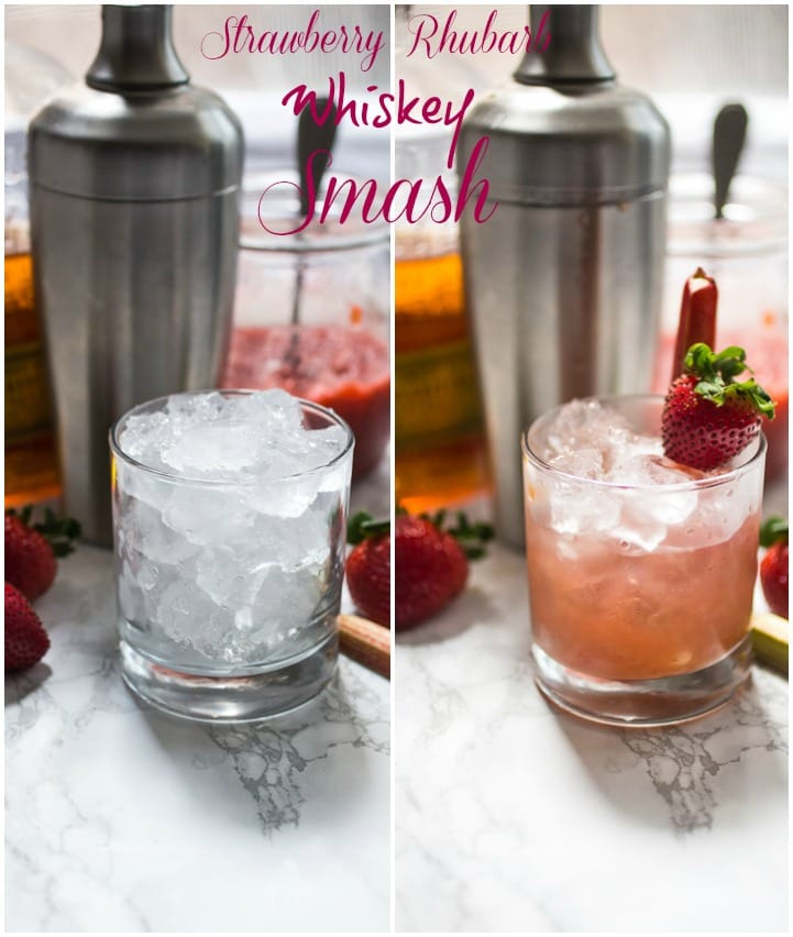 Strawberry Rhubarb Whiskey Smash | girlinthelittleredkitchen.com
