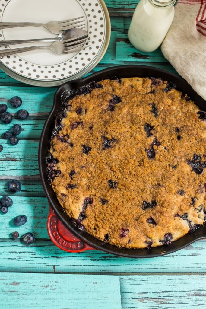 Blueberry Bourbon Buckle from The Girl In The Little Red Kitchen
