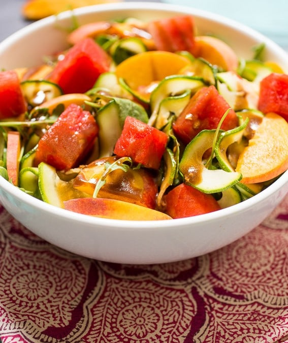 Zucchini Noodle Peach and Watermelon Salad