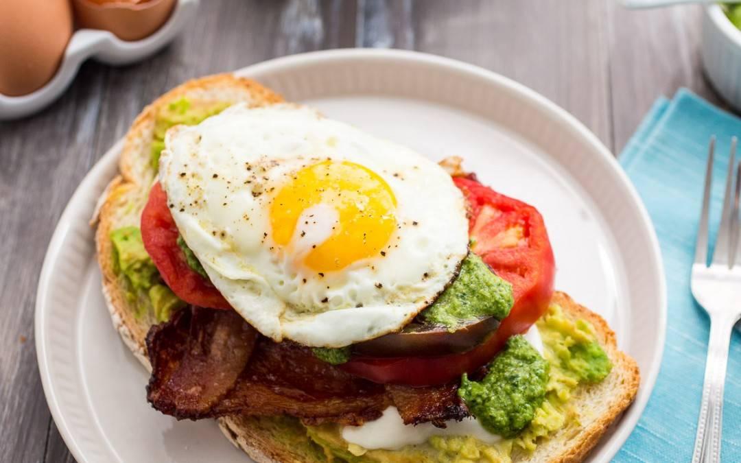 Bacon Avocado Caprese Breakfast Sandwich