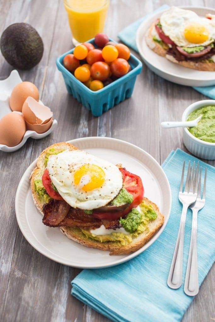 Avocado Bacon Caprese Breakfast Sandwich from The Girl In The Little Red Kitchen