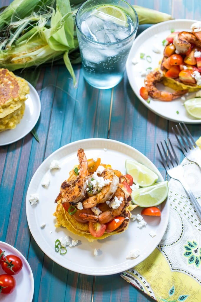 Corn Cakes with Shrimp and Tomatoes | girlinthelittleredkitchen.com