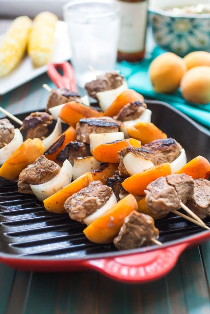 Pork and Apricot Kebobs | girlinthelittleredkitchen.com