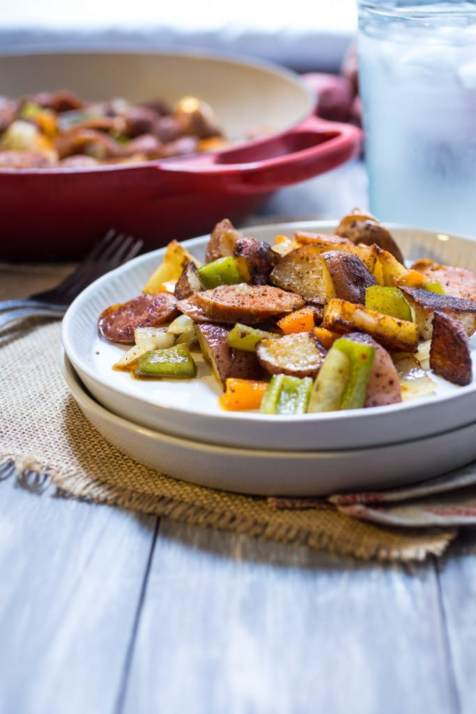 Cajun Potato and Andouille Sausage Bake | girlinthelittleredkicthen.com