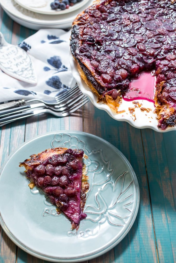 Concord Grape Tarte Tatin | girlinthelittleredkitchen.com