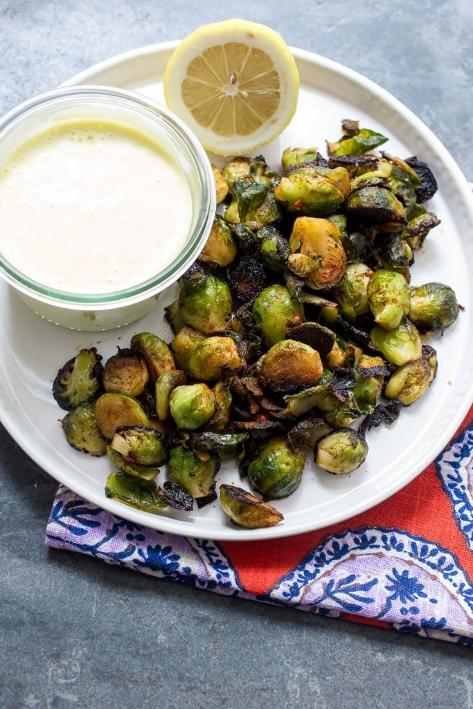 Harissa Brussels Sprouts with Lemon Garlic Aioli from The Girl In The Little Red Kitchen