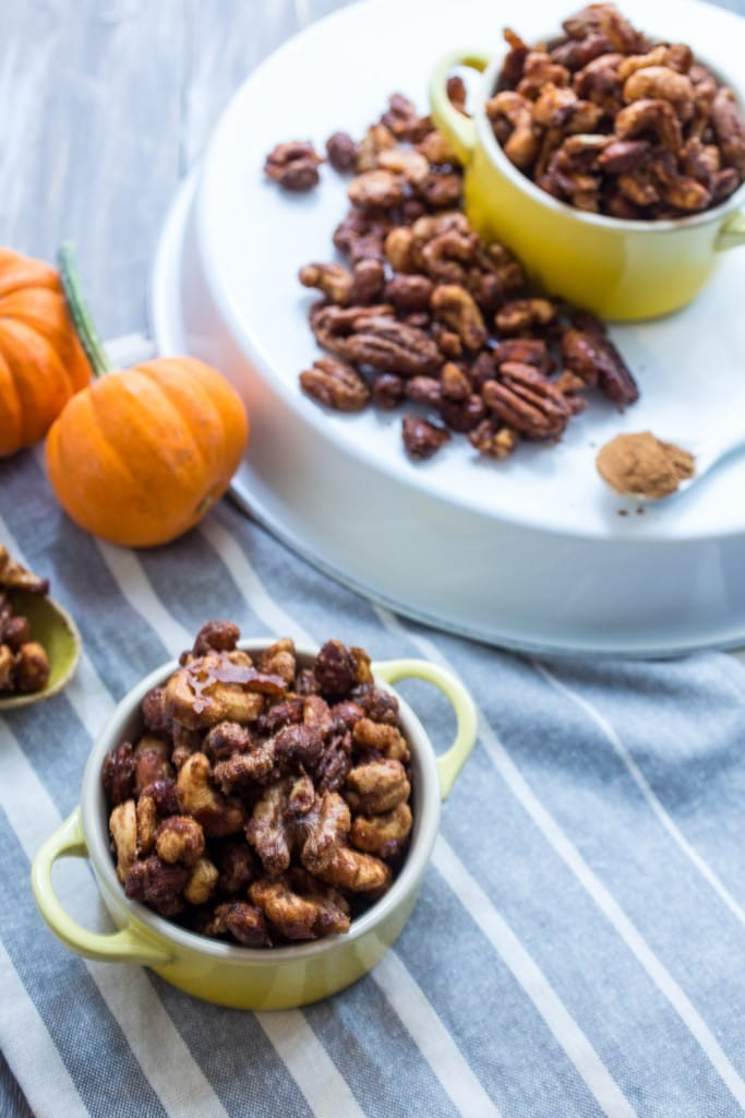 Pumpkin Spice Candied Nuts | girlinthelittleredkitchen.com