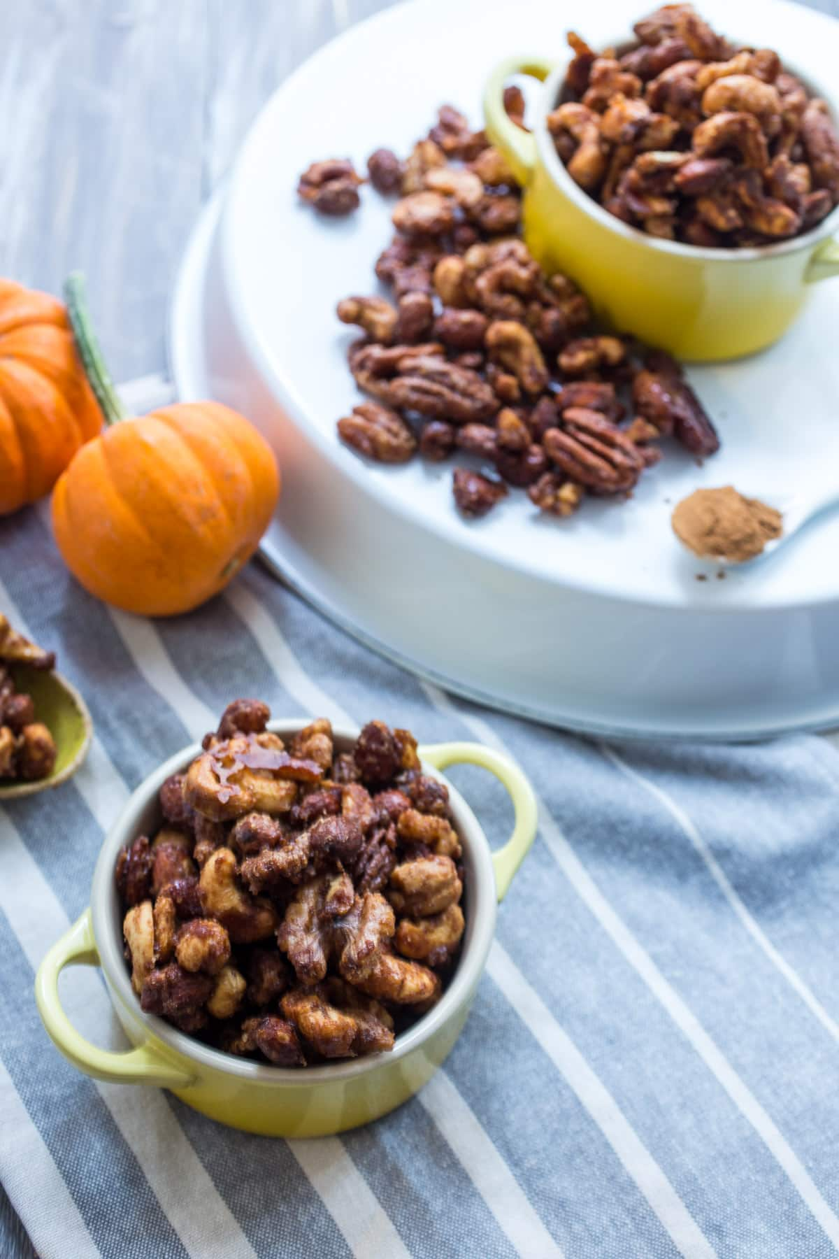 Pumpkin Spice Candied Nuts | The Girl in the Little Red Kitchen