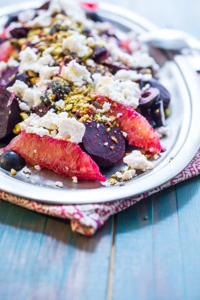 Beet, Orange and Olive Salad with Feta and PIstachios | girlinthelittleredkitchen.com