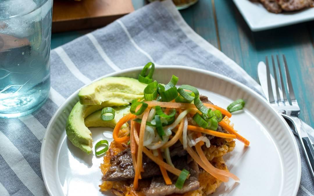 Kimchi Rice Cakes with Beef Bulgogi