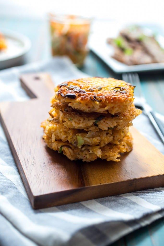 Kimchi Rice Cakes with Beef Bulgogi | girlinthelittleredkitchen.com