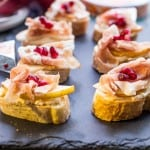 Prosciutto, Pear, Pomegranate and Cheese Crostini-3