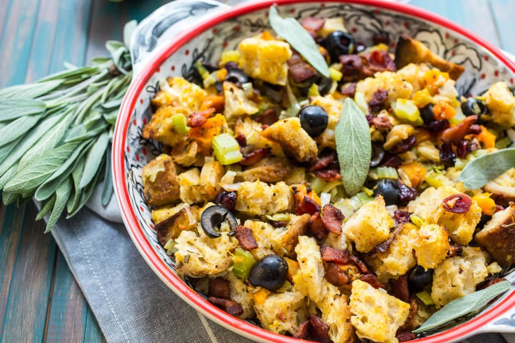 Butternut Squash, Olive and Cranberry Stuffing | girlinthelittleredkitchen.com
