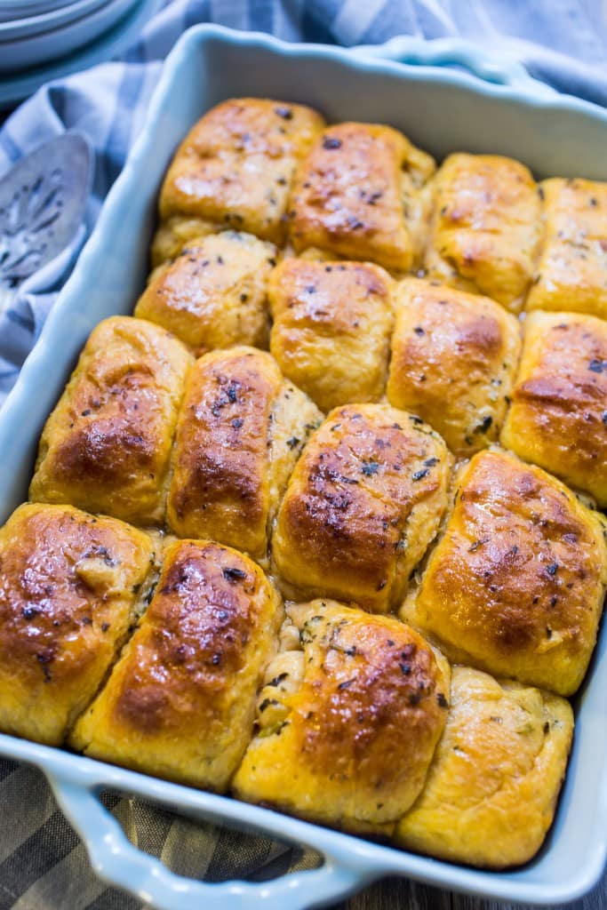 Sweet Potato Herb Parker House Rolls from The Girl In the Little Red Kitchen