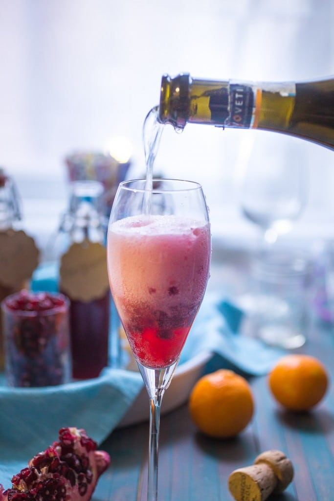 Winter Fruit Mimosas | girlinthelittleredkitchen.com