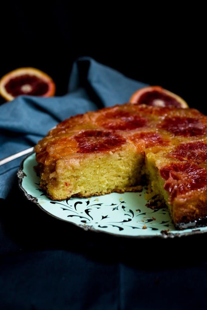 Blood Orange Almond Upside Down Cake | girlinthelittleredkitchen.com