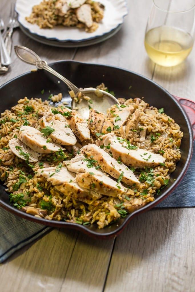 Chicken Mushroom Rice Skillet | girlinthelittleredkitchen.com