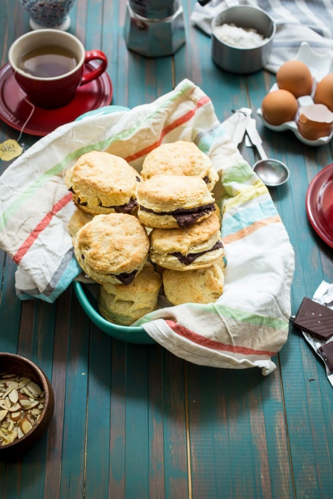 Chocolate Almond Biscuits from The Girl In The Little Red Kitchen | Buttery, flaky and light biscuits are mixed with almond paste and stuffed with chocolate for a special breakfast delight