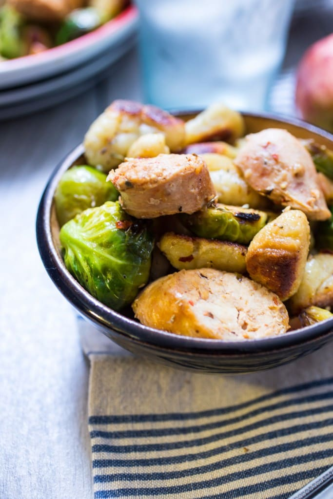 Gnocchi with Chicken Sausage, Brussels Sprouts and Apples | girlinthelittleredkitchen.com
