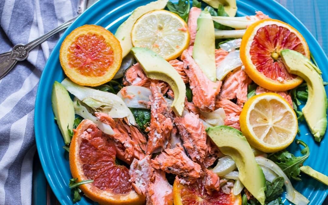 Slow Roasted Salmon with Citrus, Fennel and Avocado
