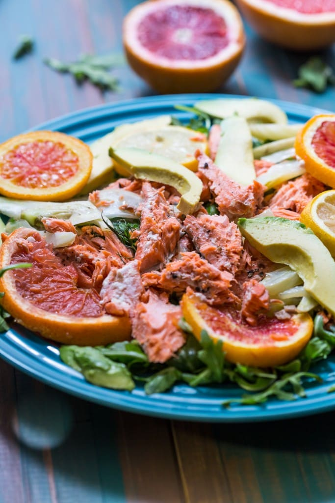Slow Roasted Salmon with Citrus, Fennel and Avocado | girlinthelittleredkitchen.com