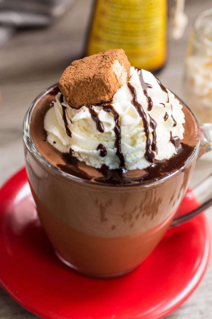 Spiked Hazelnut Hot Chocolate from The Girl In The Little Red Kitchen | Extra thick hot chocolate gets spiked with hazelnut liqueur to warm you up on the coldest days.