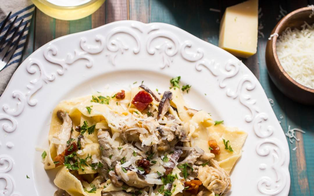 Pappardelle with Mushrooms and Goat Cheese Cream Sauce