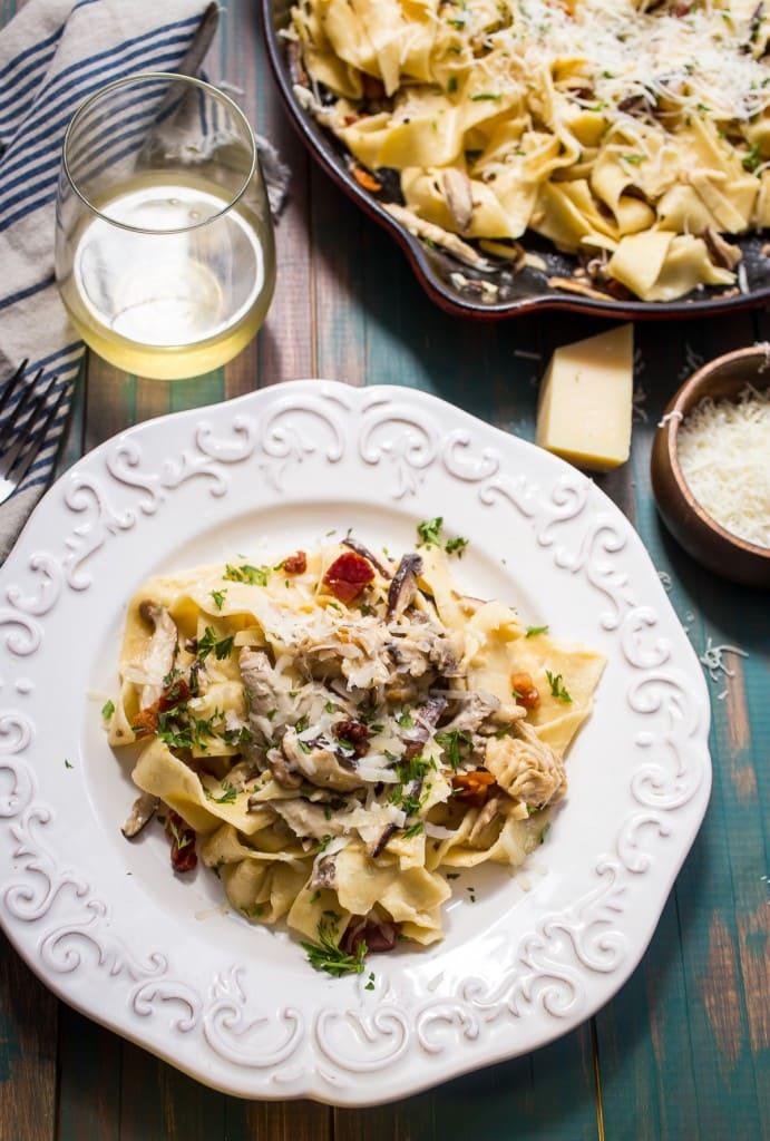 Pappardelle with Mushrooms and Goat Cheese Cream Sauce from The Girl In The Little Red Kitchen
