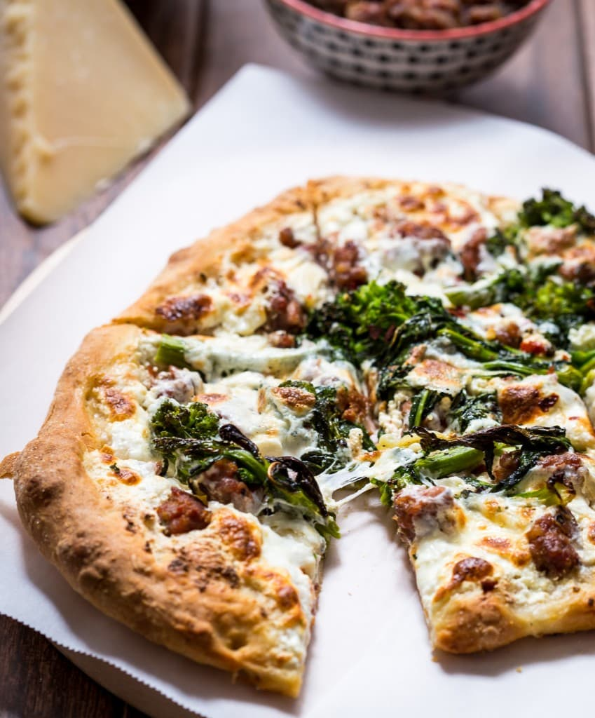Broccoli Rabe, Sausage and Ricotta Pizza | girlinthelittleredkitchen.com
