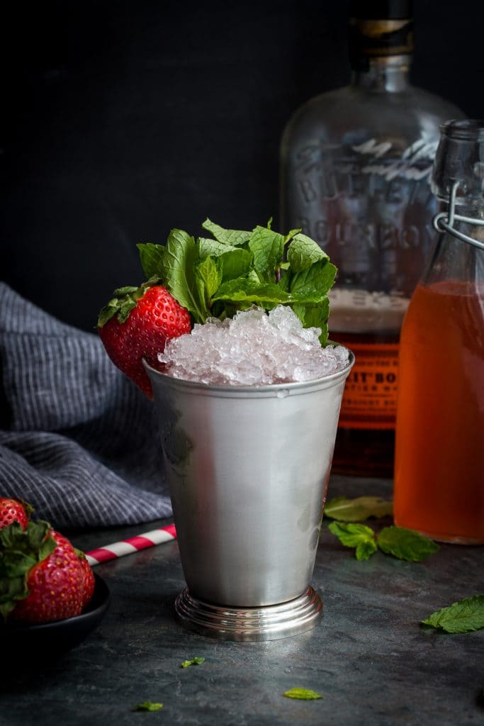 Strawberry Rhubarb Julep from The Girl In The Little Red Kitchen