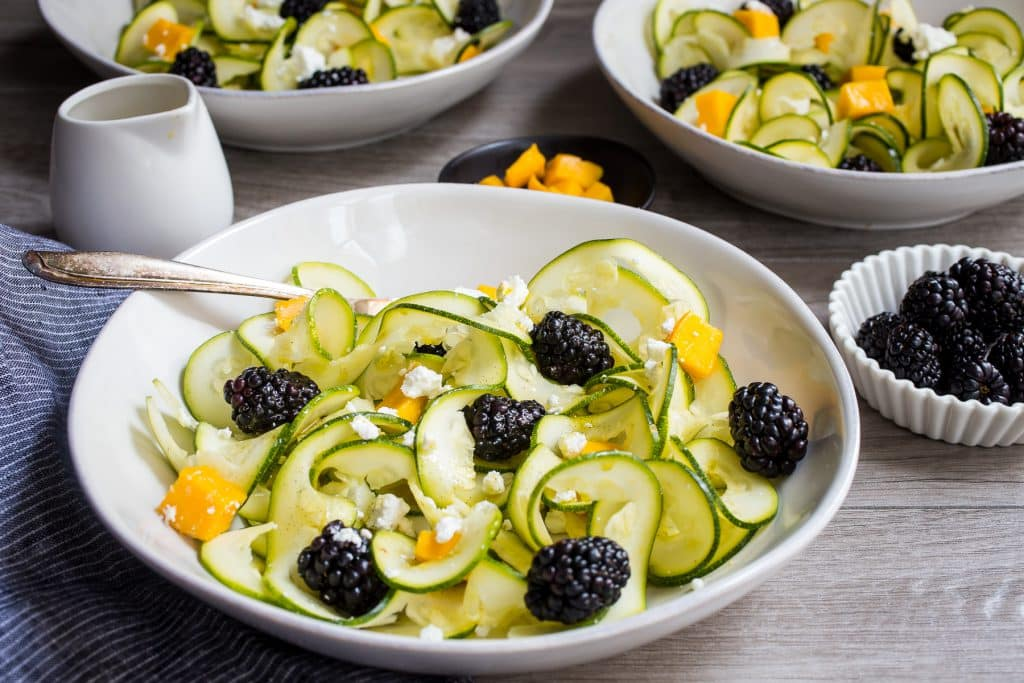 Zucchini Noodle, Blackberry and Mango Salad with Vanilla Bean Vinaigrette | girlinthelittleredkitchen.com