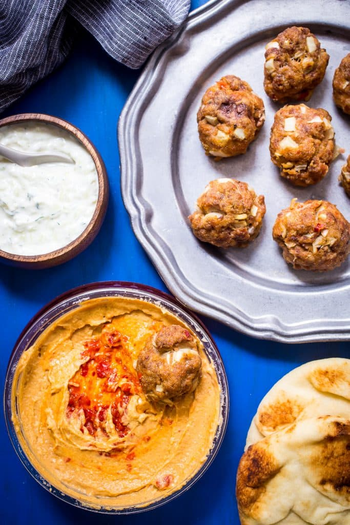 Chipotle Hummus Meatballs from The Girl In The Little Red Kitchen