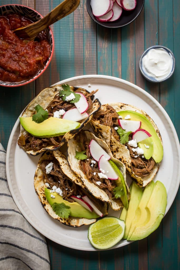 Spicy Shredded Beef Tacos from The Girl In The Little Red Kitchen