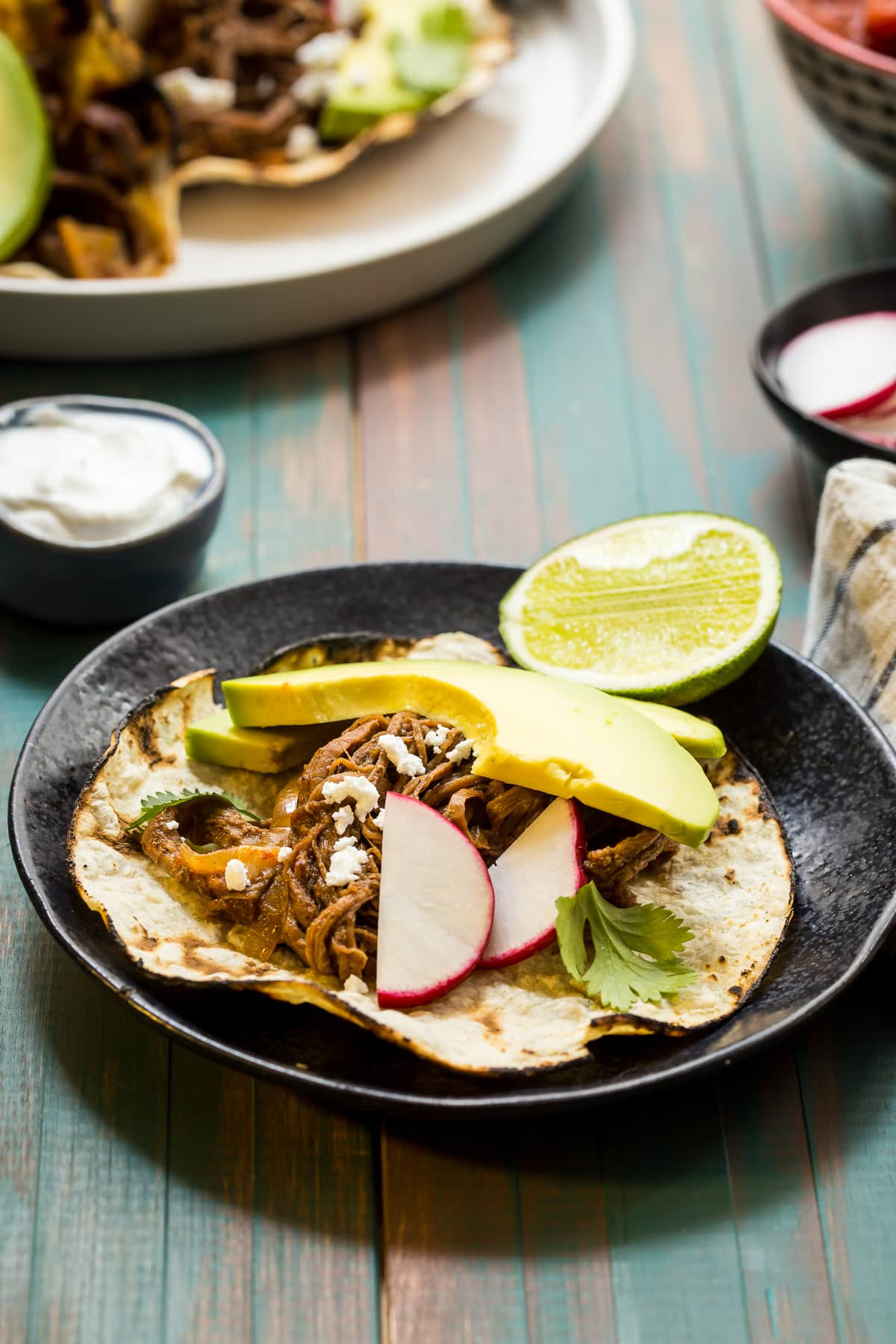 spicy shredded beef tacos in the little red kitchen