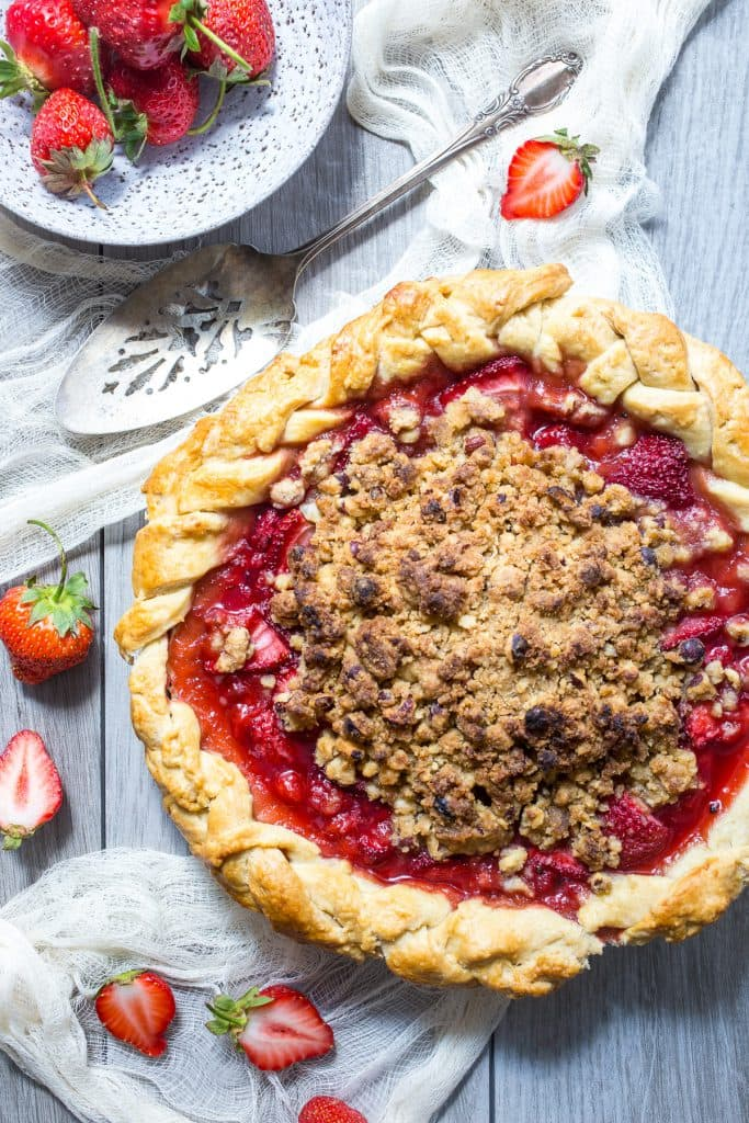 Strawberry Hazelnut Crumb Pie from The Girl In The Little Red Kitchen