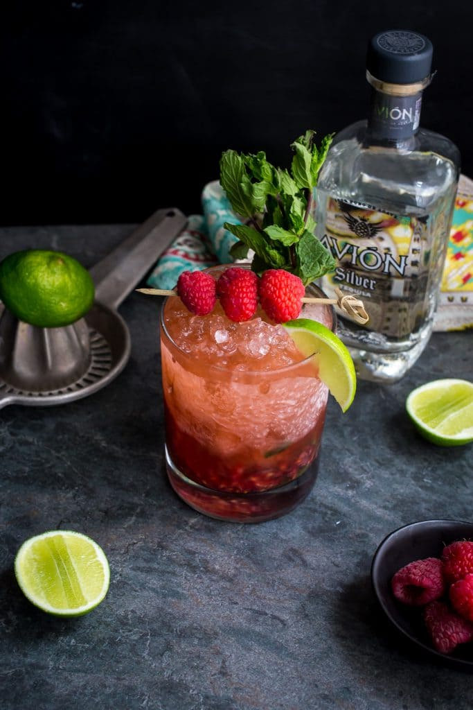 Raspberry Mint Tequila Smash from The Girl In The Little Red Kitchen