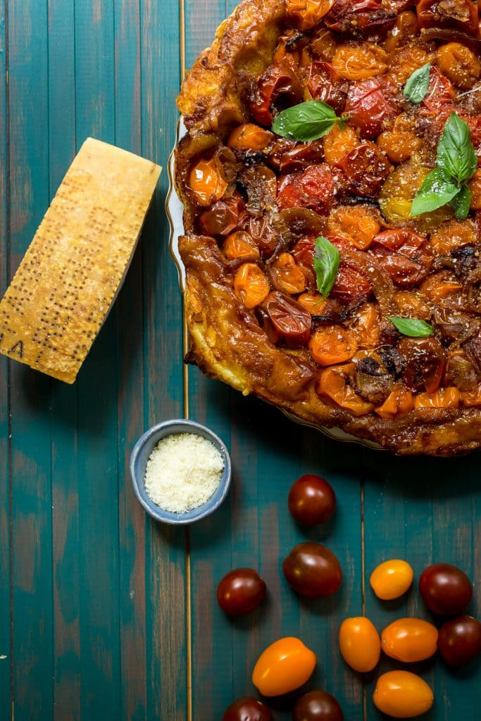 Tomato Parmesan Tarte Tatin | girlinthelittleredkitchen.com