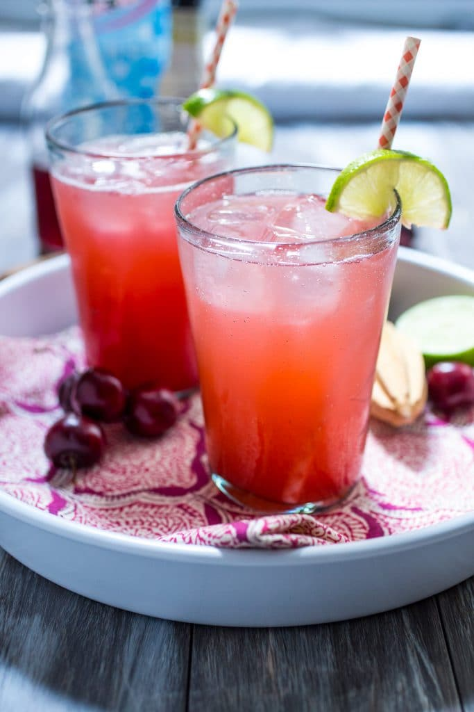 Cherry Lime Gin Rickey from The Girl In The Little Red Kitchen