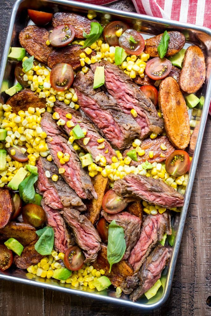 STEAK AND POTATO SALAD WITH AVOCADO, CORN AND TOMATOES | GIRLINTHELITTLEREDKITCHEN.COM
