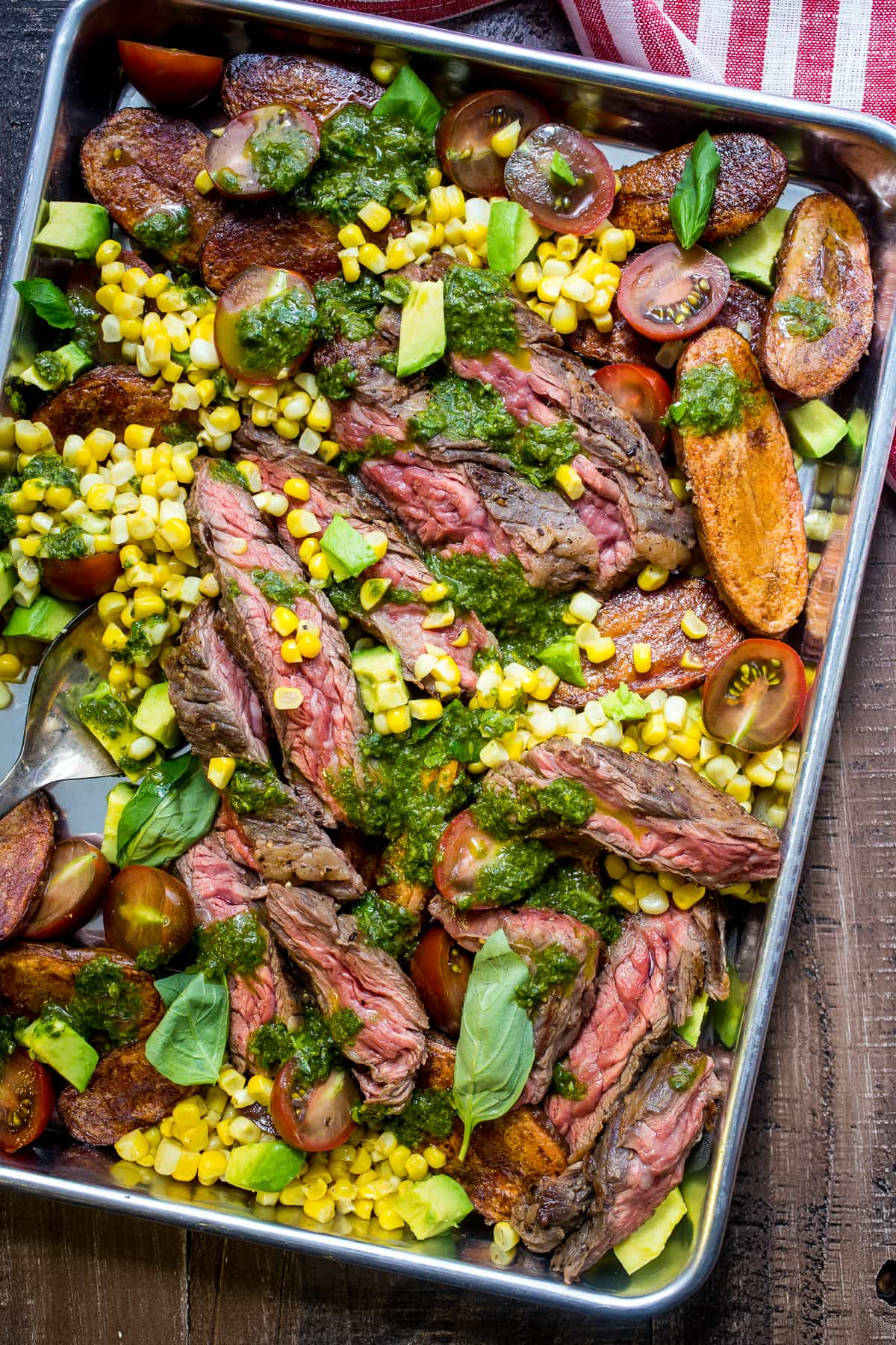 Steak and Potato Salad with Avocado Corn and Tomato from The Girl In ...