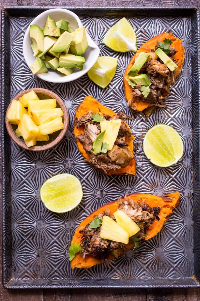 Instant Pot Al Pastor Pork Stuffed Sweet Potatoes from The Girl In The Little Red Kitchen