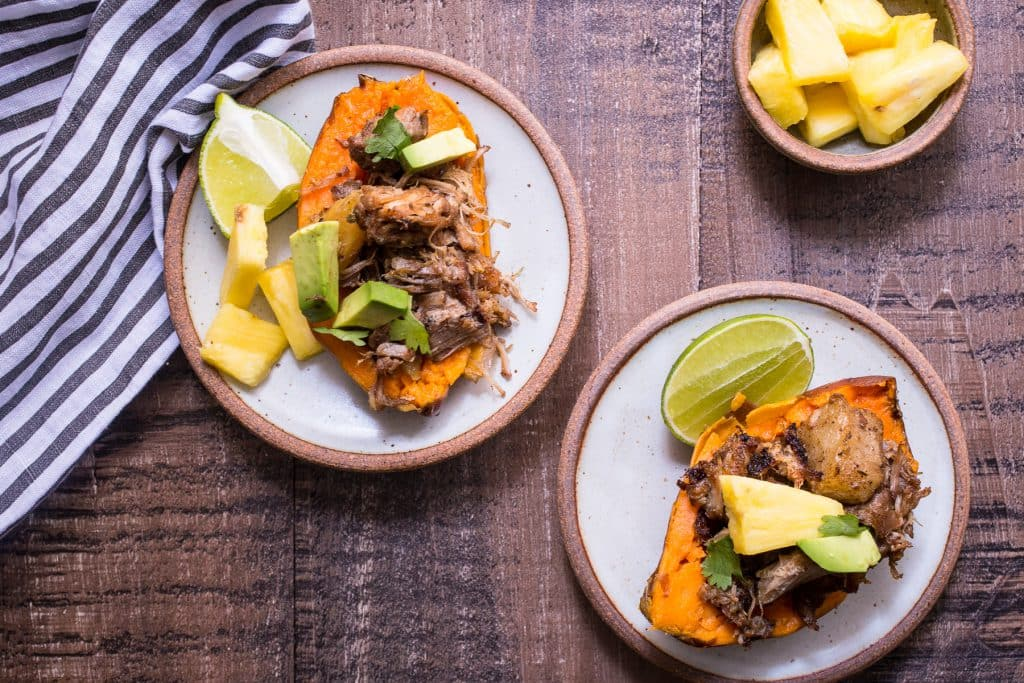 Instant Pot Al Pastor Pork Stuffed Sweet Potatoes | girlinthelittleredkitchen.com