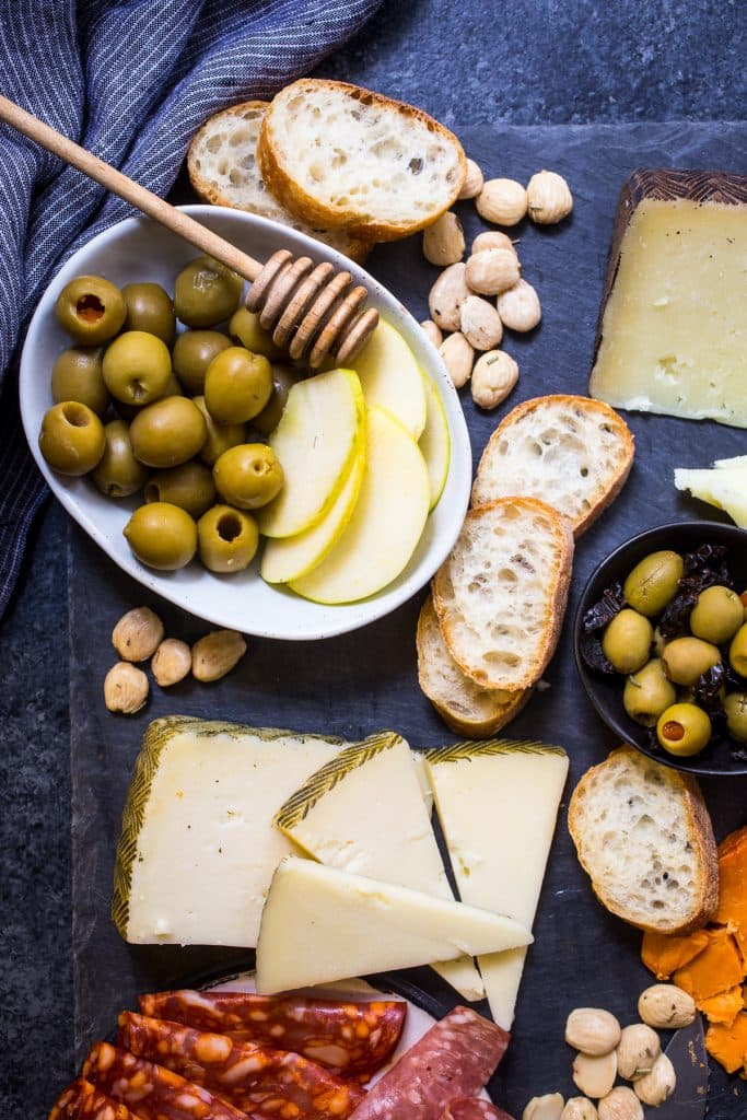 Spanish Olive and Cheese Board | girlinthelittleredkitchen.com