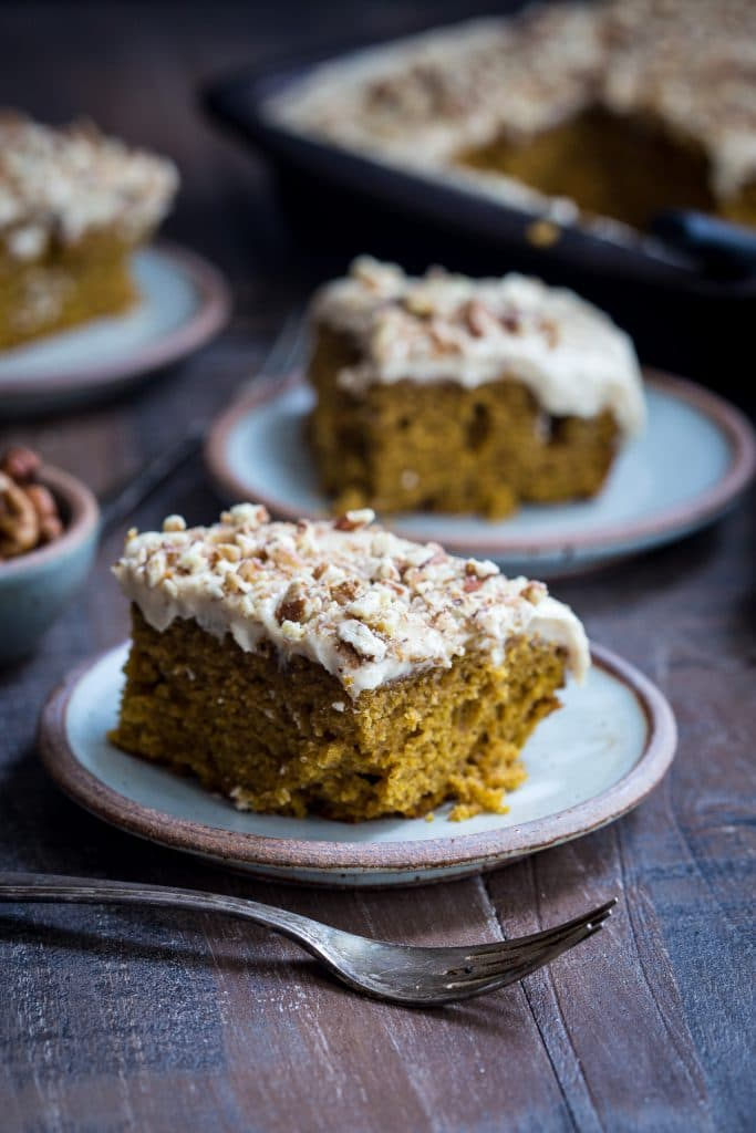 Bourbon Chai Pumpkin Snack Cake | girlinthelittleredkitchen.com