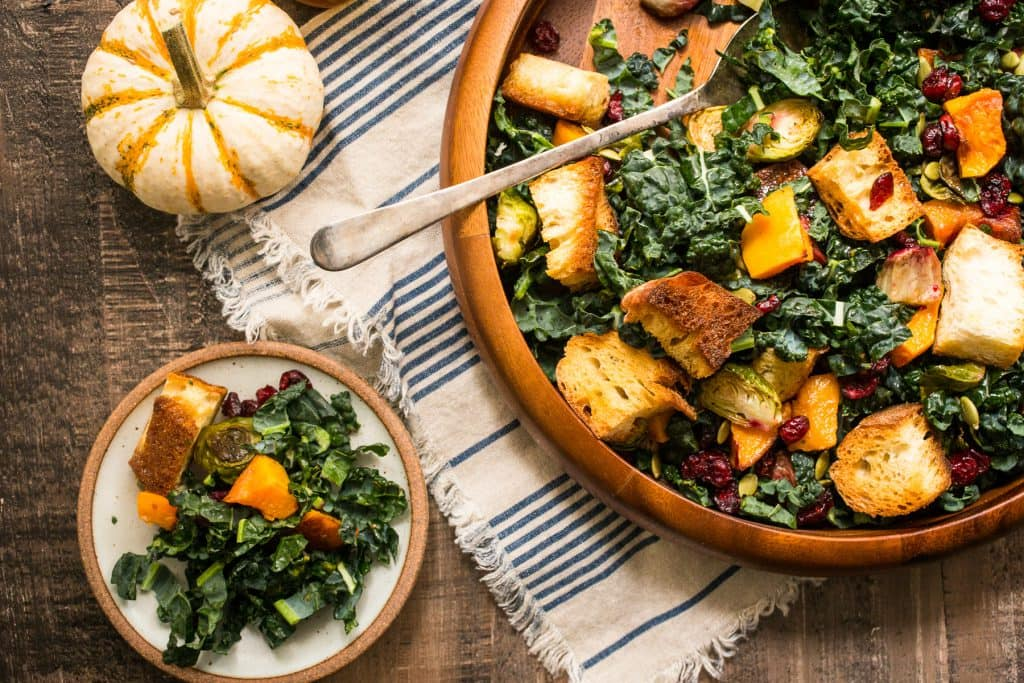 Autumn Panzanella Salad | girlinthelittleredkitchen.com