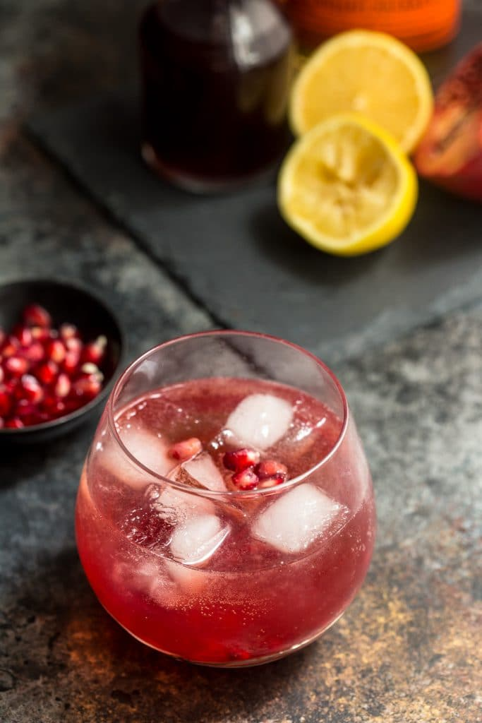 Pomegranate Whiskey Sour | girlinthelittleredkitchen.com
